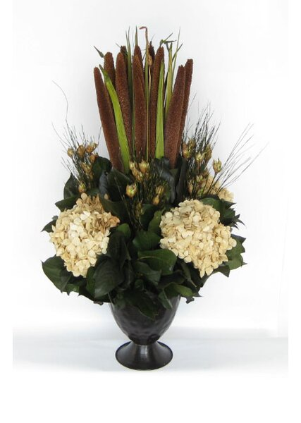 Metal Trophy Small Vase with Pensularia, Bell Reed and Hydrangea by Bougainvillea