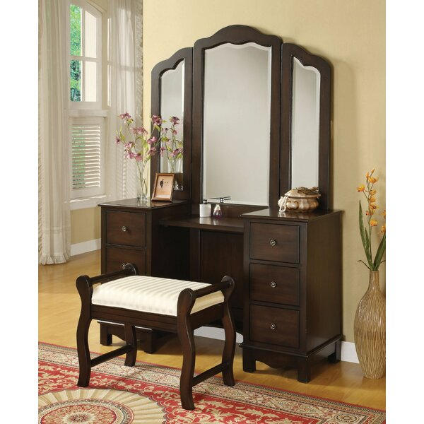 Fairford Vanity Set with Stool and Mirror by Canora Grey