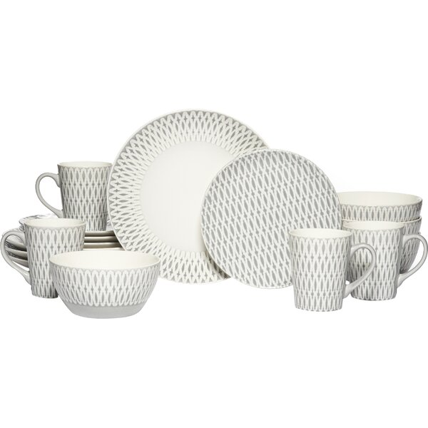 Aurora 16 Piece Dinnerware Set, Service for 4 by Gourmet Basics by Mikasa