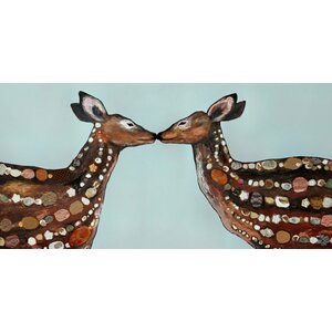 'Deer Love' Painting Print on Wrapped Canvas by Mercury Row