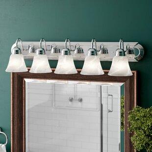 Amber Oak 5-Light Vanity Light By Three Posts Wall Lights