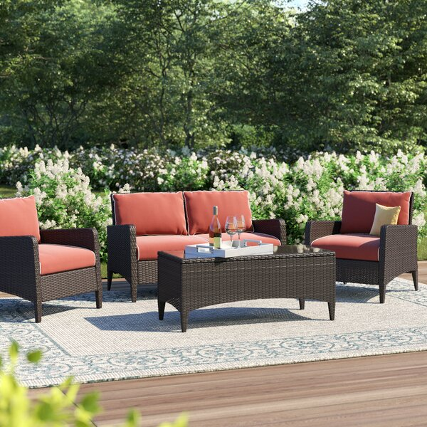 Mosca 4 Piece Sofa Seating Group with Cushions by World Menagerie