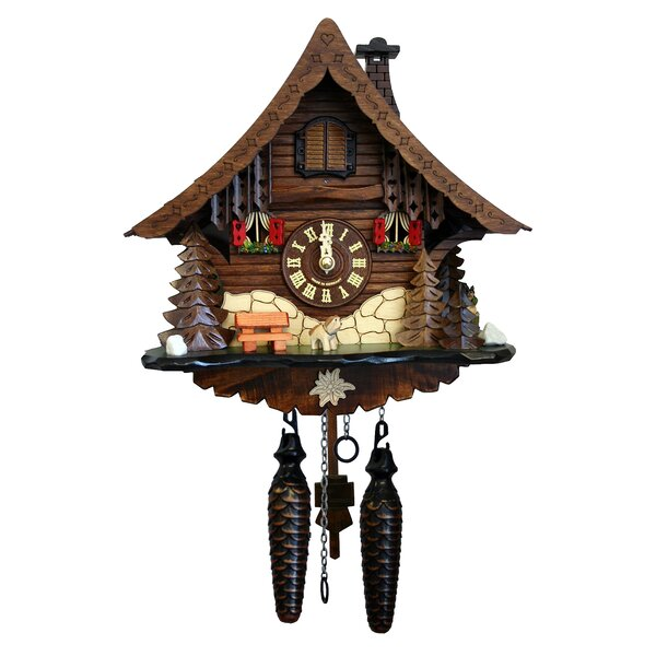 Battery-Operated Wood Cuckoos Wall Clock by Loon Peak