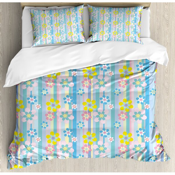 Abstract Spring Season Themed Cute Graphic Daisies on Vertical Stripes Soft Modern Duvet Set by East Urban Home