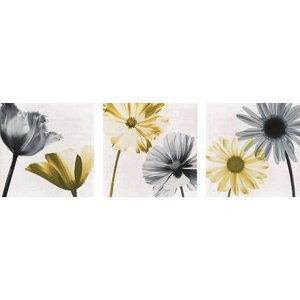 A Pair of Flowers' 3 Piece Graphic Art on Wrapped Canvas Set by Zipcode Design