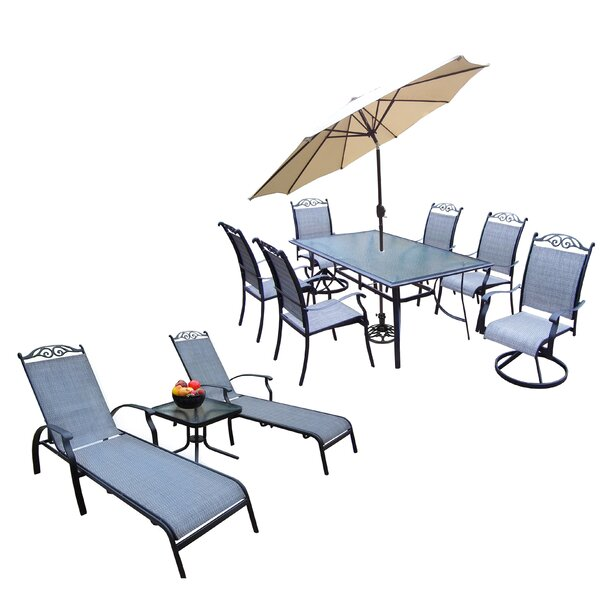 Basile 10 Piece Dining Set with Umbrella by August Grove