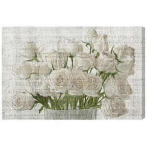 White Rose Love Painting Print on Canvas by Lark Manor