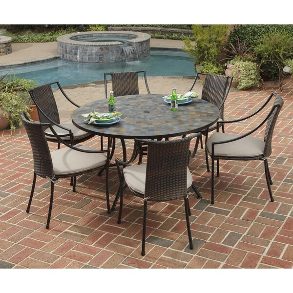Sequoyah 7 Piece Dining Set with Cushions by Loon Peak