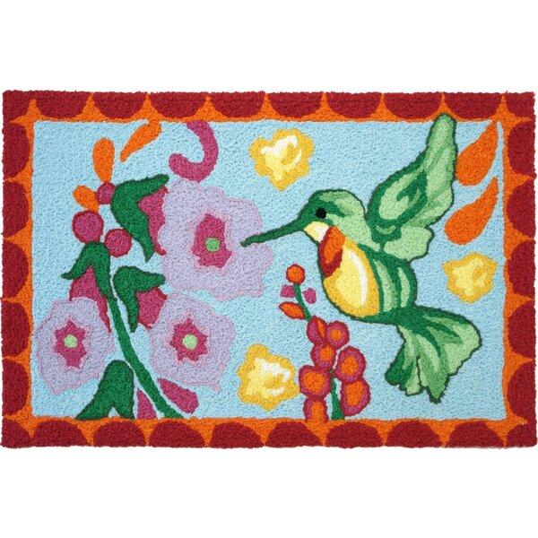 Trong Hummingbird Hand-Tufted Blue/Green/Pink Indoor/Outdoor Area Rug