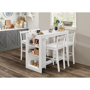 Amandes Counter Height Dining Table with Shelving by Alcott Hill