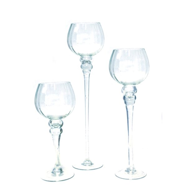 Doubleday Goblet Glass 3 Piece Table Vase Set by Canora Grey