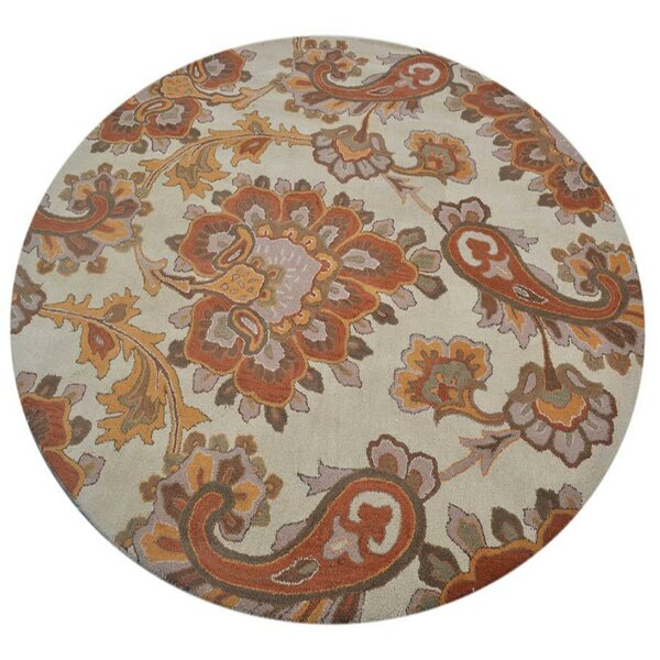 Vanguard Hand-Tufted Wool Beige/Orange Area Rug by Winston Porter