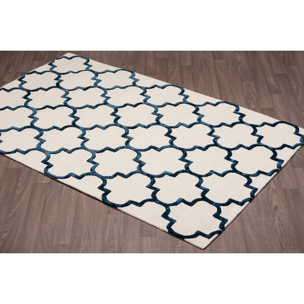 Waguespack Trellis Hand-Tufted Wool Cream/Navy Area Rug by House of Hampton