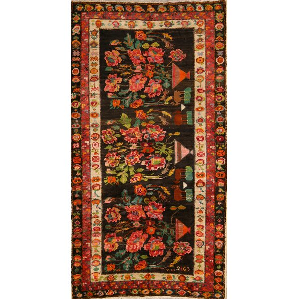 Goussainville Kazak Russian Oriental Hand-Knotted Wool Red/Black Area Rug by Bloomsbury Market