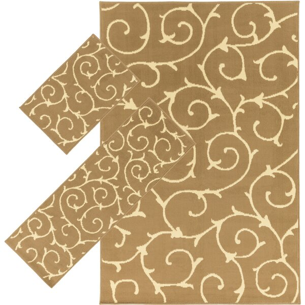 Imogene Taupe 3 Piece Area Rug Set by Threadbind