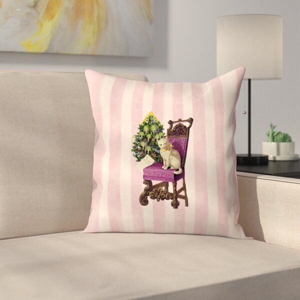 Vintage Stripes Cat Throw Pillow by East Urban Home