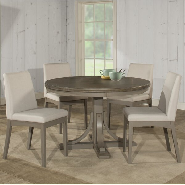 Kinsey 5 Piece Dining Set with Upholstered Chairs by Rosecliff Heights