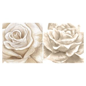 White Rose 2 Piece Painting Print on Wrapped Canvas Set by PTM