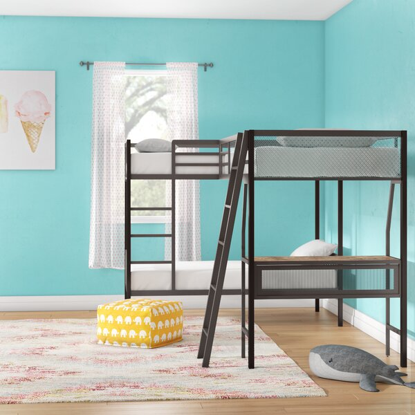 Earline Contemporary Twin over Twin L-Shaped Bunk & Loft Bed with Storage and Display Shelf by Viv + Rae