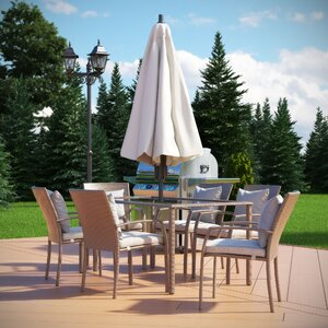 Zada 7 Piece Dining Set with Cushion