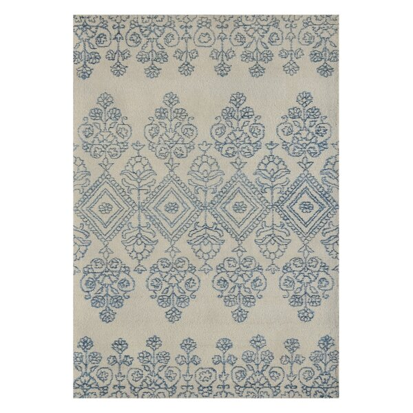 Earlene Hand-Tufted Ivory/Blue Area Rug by Bloomsbury Market