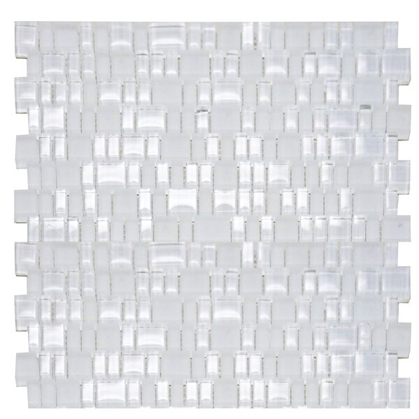 Mini Mix Shiny and Satin Moasic Tile in Snow by The Bella Collection