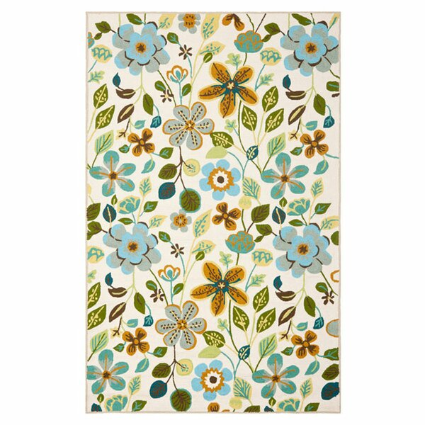 Aldridge Hand-Hooked Ivory Indoor/Outdoor Area Rug by Red Barrel Studio