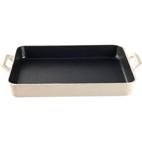Shallow 10.2 Cast Iron Roasting Pan by La Cuisine