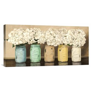 'Hydrangeas in Mason Jars' by Thomlinson Painting Print on Wrapped Canvas by Global Gallery