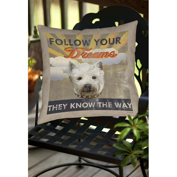 Dog Days - Pek Pup Indoor/Outdoor Throw Pillow by Manual Woodworkers & Weavers
