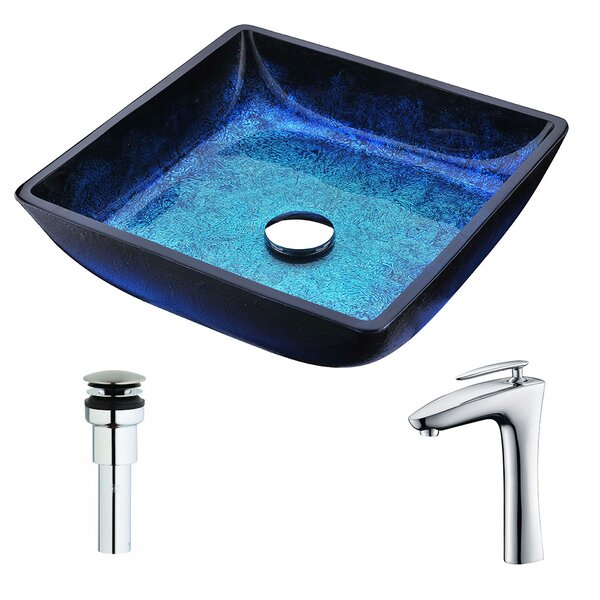 Viace Glass Square Vessel Bathroom Sink with Faucet by ANZZI