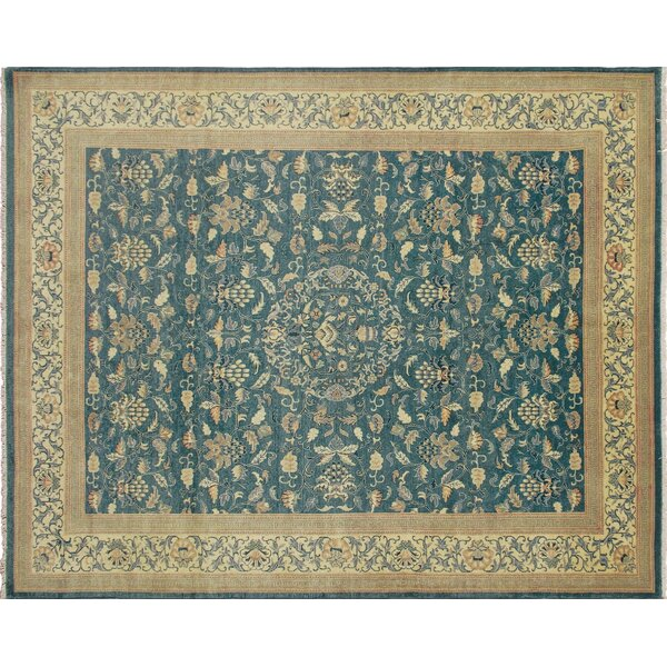 One-of-a-Kind Romona Hand-Knotted Teal Blue Area Rug by Isabelline