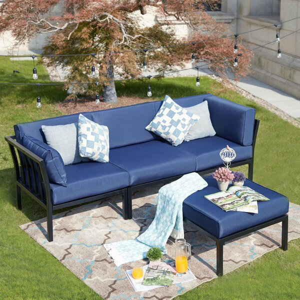 Pacheco 4 Piece Sectional Seating Group with Cushions by Alcott Hill