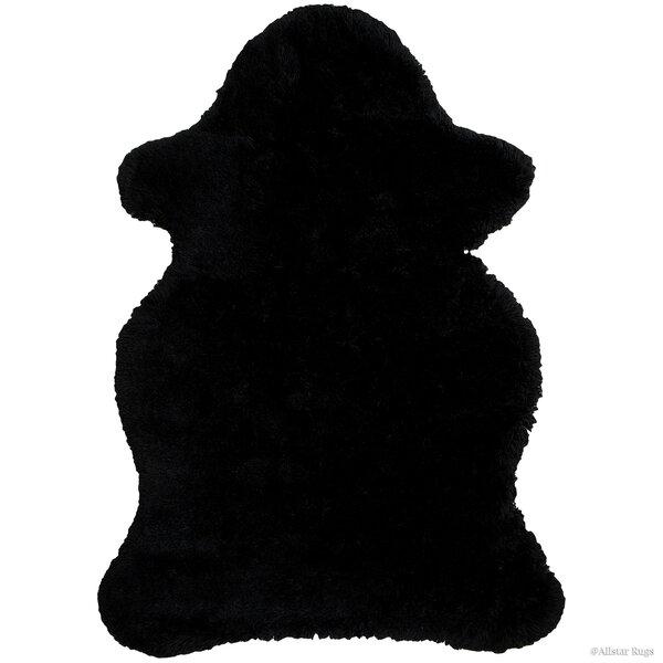 Faux Sheepskin Black Area Rug by AllStar Rugs