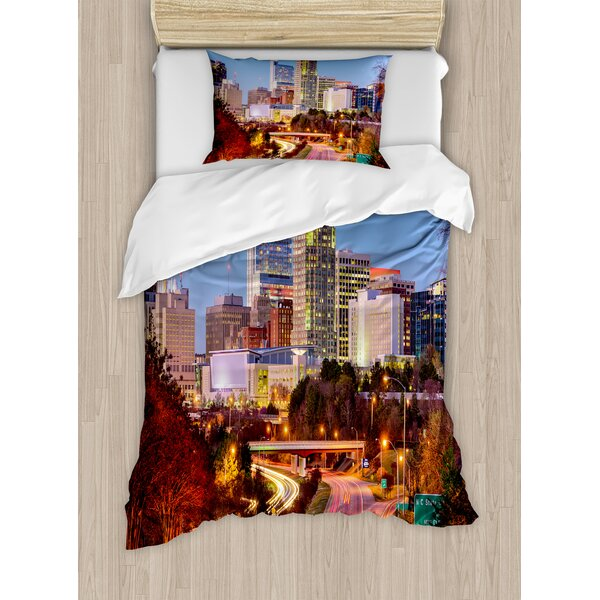 Raleigh North Carolina USA Express Way Business District Building Skyscrapers Duvet Set by East Urban Home