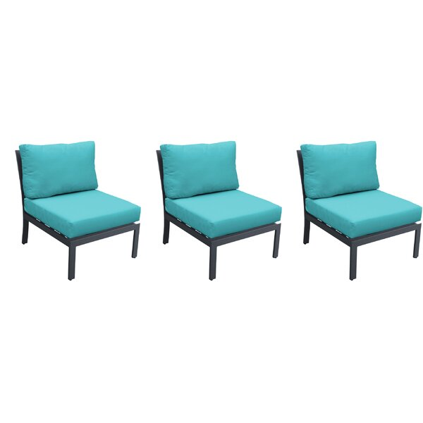Kahle Armless Patio Chair with Cushions (Set of 3) by Wrought Studio