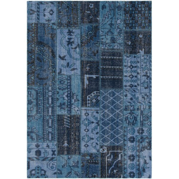 Casselman Patterned Knotted Contemporary Blue Area Rug by Bloomsbury Market