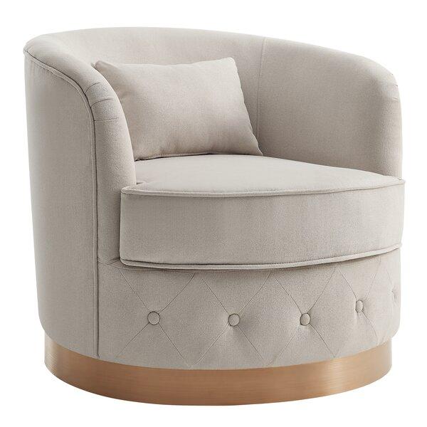 Margo Swivel 29 inch Barrel Chair by Rosdorf Park