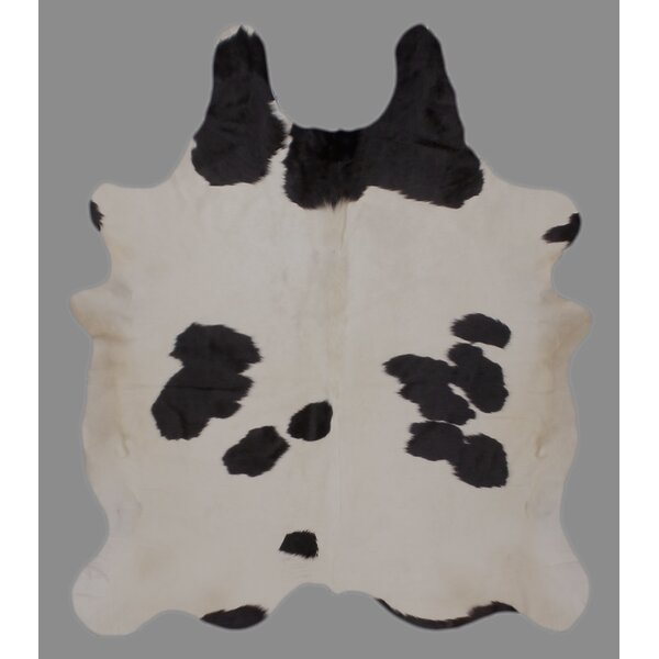 One-of-a-Kind Crawford Holando Hand-Woven Cowhide Black/White Area Rug by Foundry Select