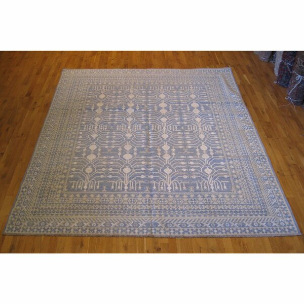 One-of-a-Kind Hand-Knotted Blue 8'3 x 9'9 Wool Area Rug