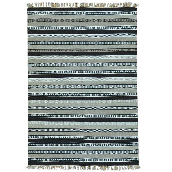 Flat Weave Reversible Durie Kilim Hand-Knotted Light Blue/Gray Area Rug by Bloomsbury Market