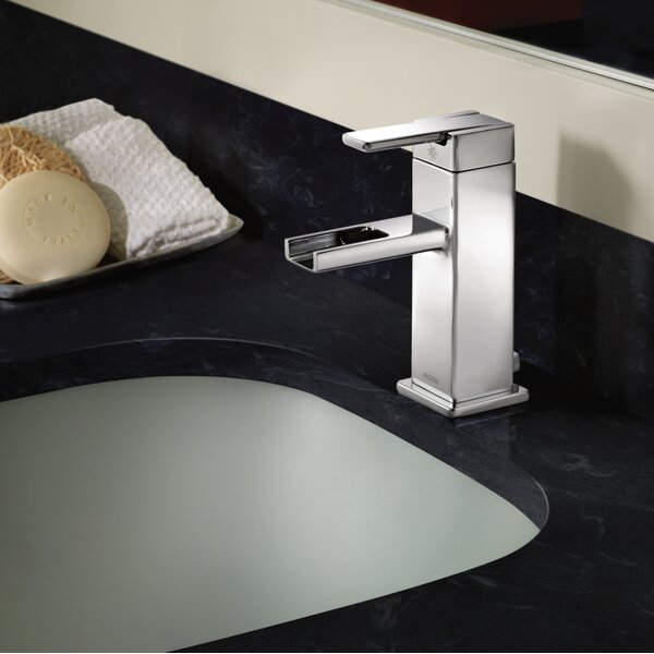 90 Degree Single Hole Bathroom Faucet with Drain by Moen