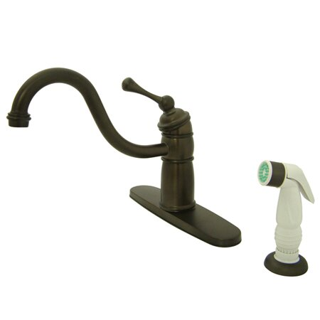 Victorian Single Handle Kitchen Faucet with Non-Metallic Sprayer by Kingston Brass
