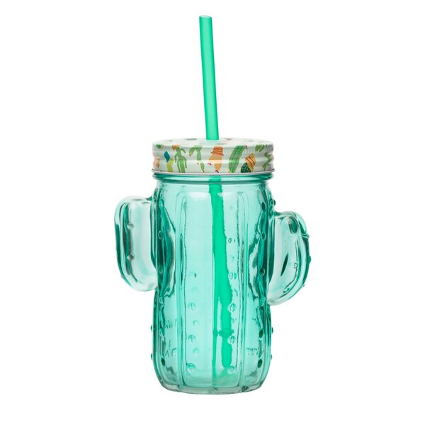 Elwood Cactus 16 oz. Glass Mason Jar (Set of 4) by Bungalow Rose