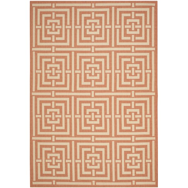 Romola Abstract Terracotta Indoor/Outdoor Area Rug by Highland Dunes