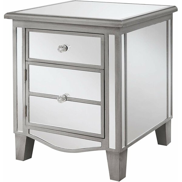 Lewes Glass Top 2 Drawer End Table By Rosdorf Park