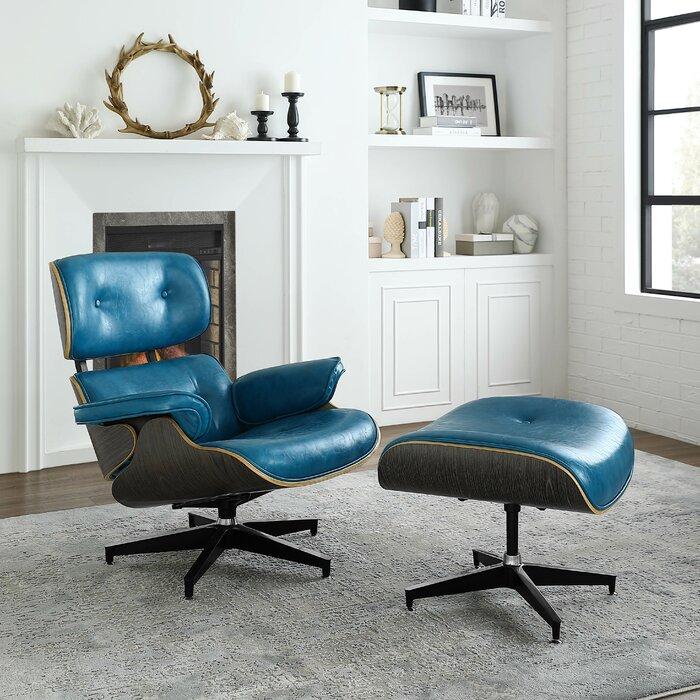 purchase cheap 0a264 1652a Omari Swivel Lounge Chair and Ottoman