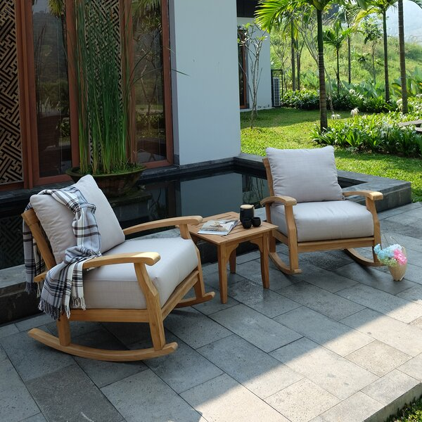 Summerton 3 Piece Teak Seating Group with Cushions by Birch Lane™ Heritage