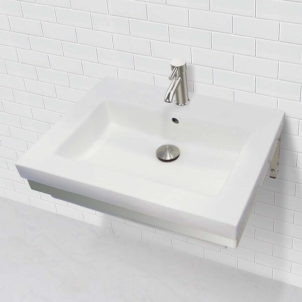 Caden Classically Redefined Lavatory 24 Wall Mount Bathroom Sink with Overflow by DECOLAV