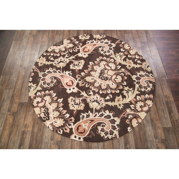 Karina Agra Traditional Oriental Hand-Tufted Wool Beige/Brown Area Rug by Charlton Home